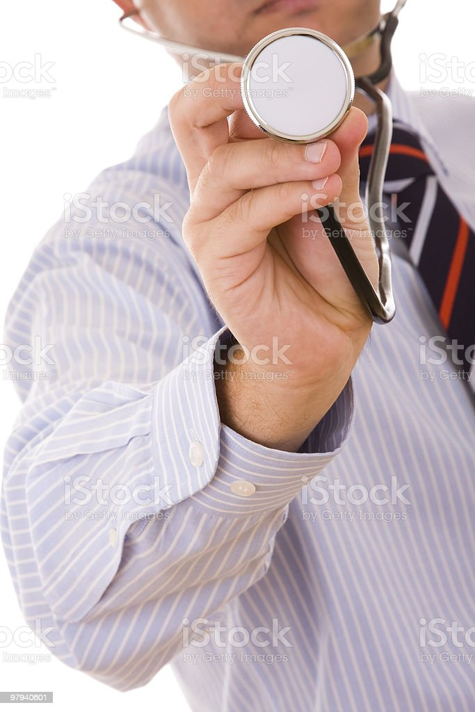 stethoscope in the doctor hand royalty-free stock photo