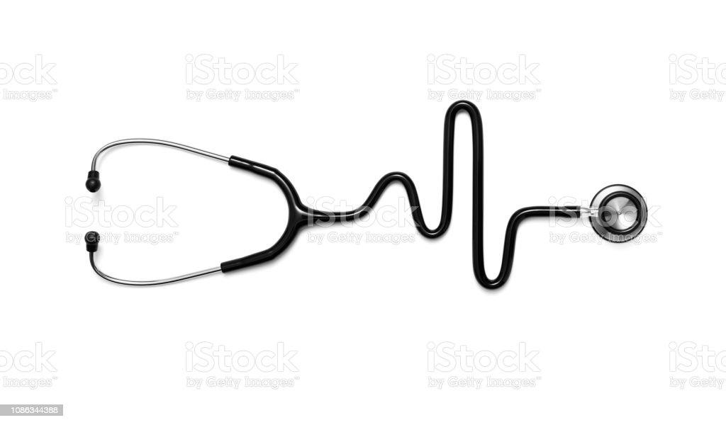 Stethoskop in Form von einem Herzschlag auf ein EKG – Foto