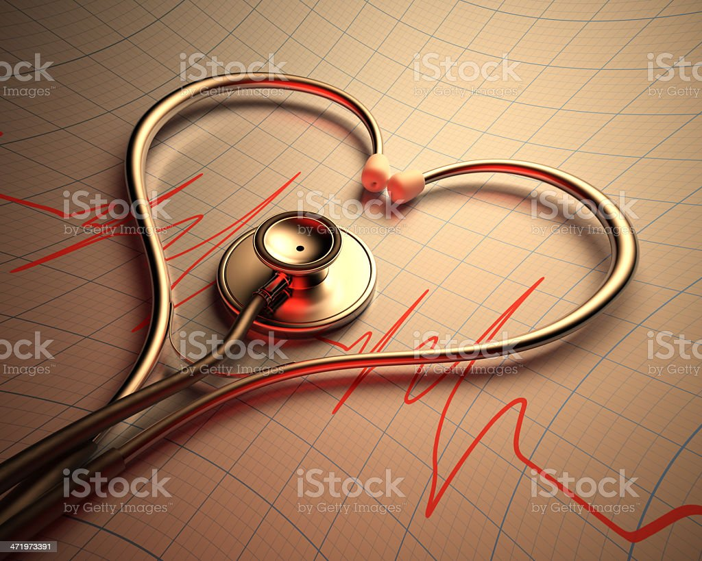 Stethoscope laid in a heart shape over a cardiograph stock photo
