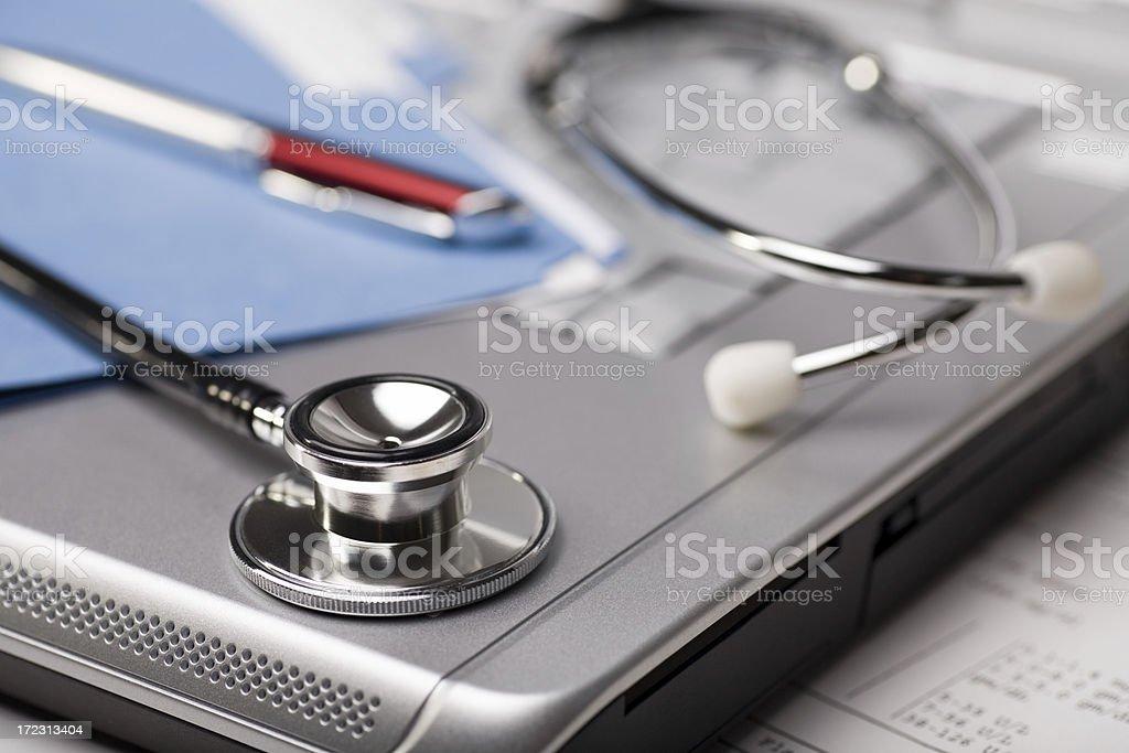 Stethoscope & Laptop royalty-free stock photo