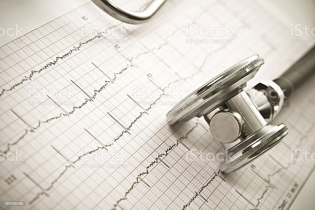 Stethoscope on a EKG sheet.Close-up royalty-free stock photo