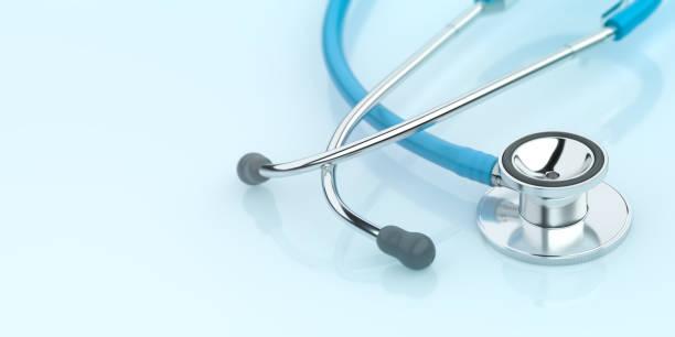 Stethoscope on Blue Background Doctor stock photo