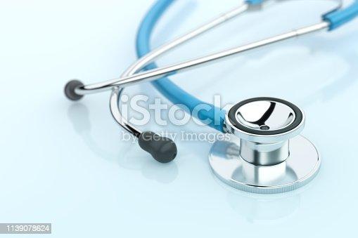 Healthcare Stethoscope Blue Background Medical