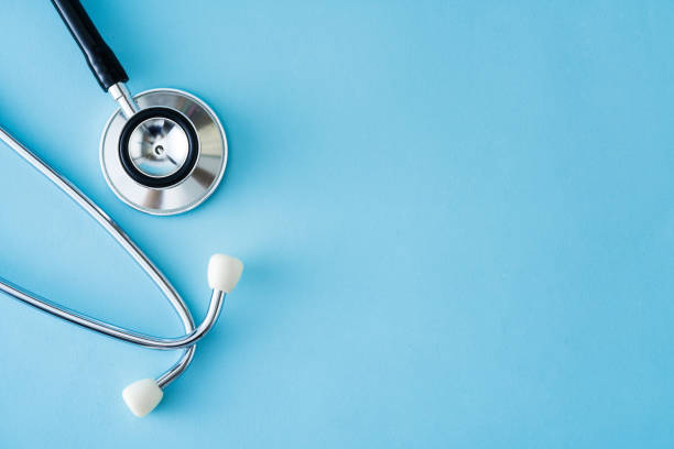 Stethoscope on Blue Background Stethoscope, Medicine, Medical Equipment, Exercising, Listening stethoscope stock pictures, royalty-free photos & images