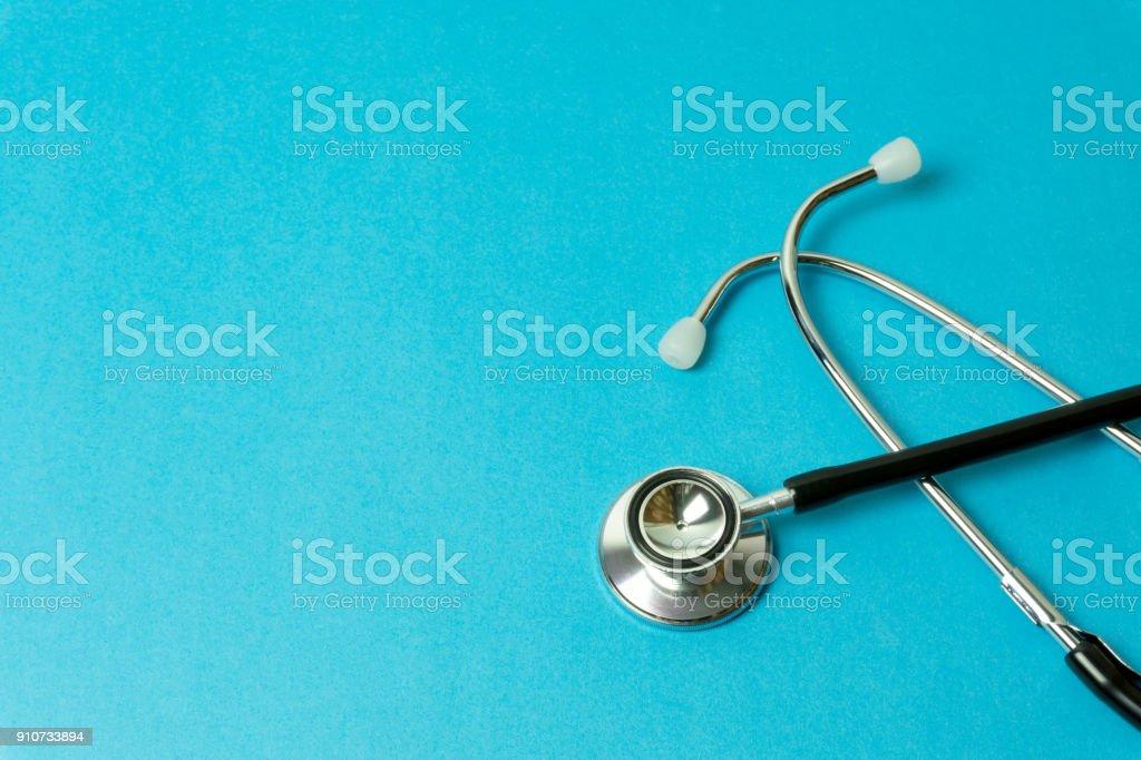 Stethoscope on Blue Background stock photo