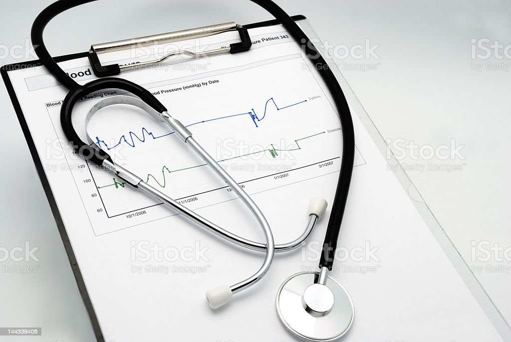 Stethoscope on clipboard #1 royalty-free stock photo