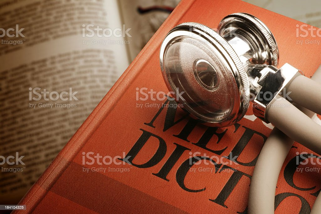 Stethoscope on Medical Dictionary royalty-free stock photo