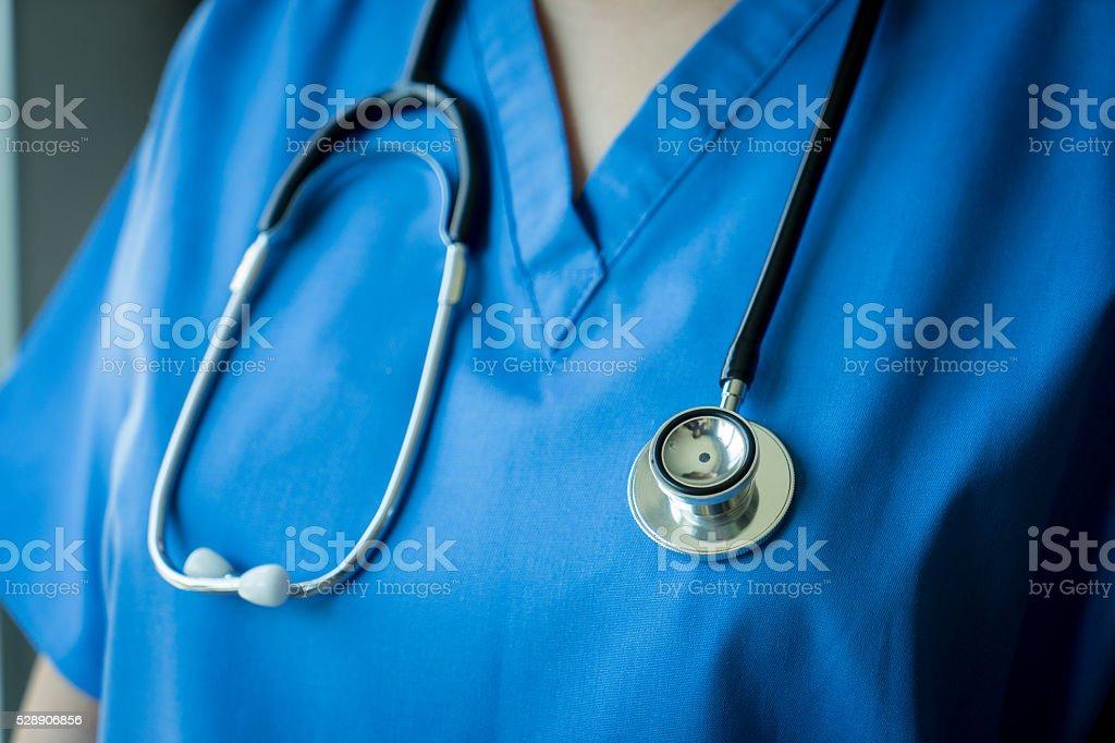 Krankenschwester Arzt Stethoskop auf &  Mantel Hintergrund – Foto