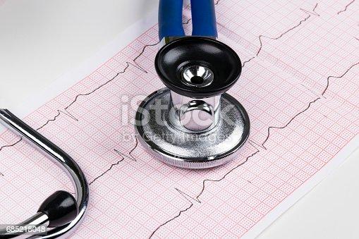 istock Stethoscope on the electrocardiogram (ECG) graph.Medicine concept. healthcare background 685218048