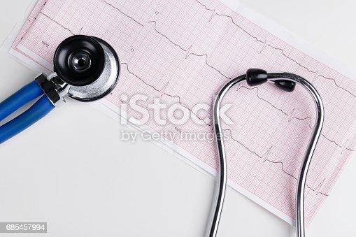 istock Stethoscope on the electrocardiogram (ECG) graph.Medicine concept. healthcare background 685457994
