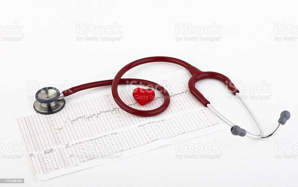 Stethoscope on the medical chart royalty-free stock photo