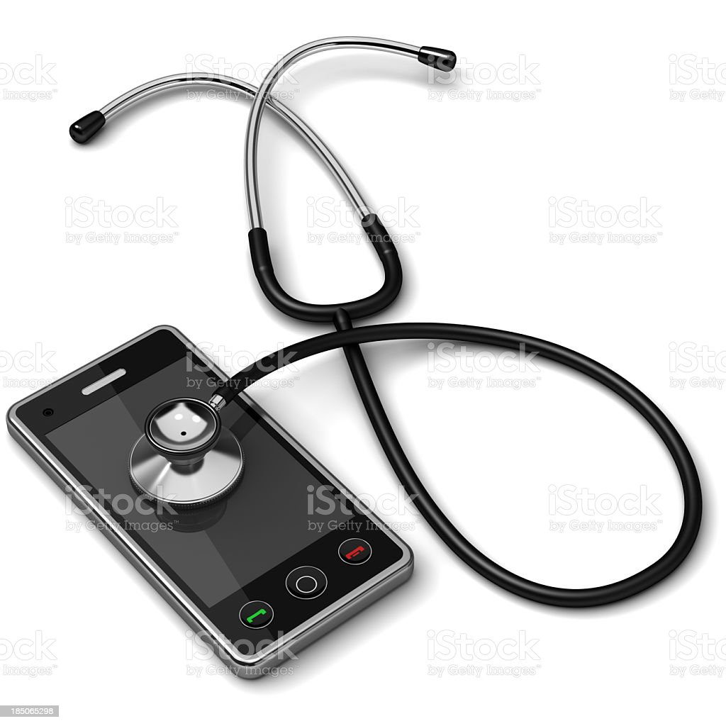 Stethoscope on top of smartphone royalty-free stock photo
