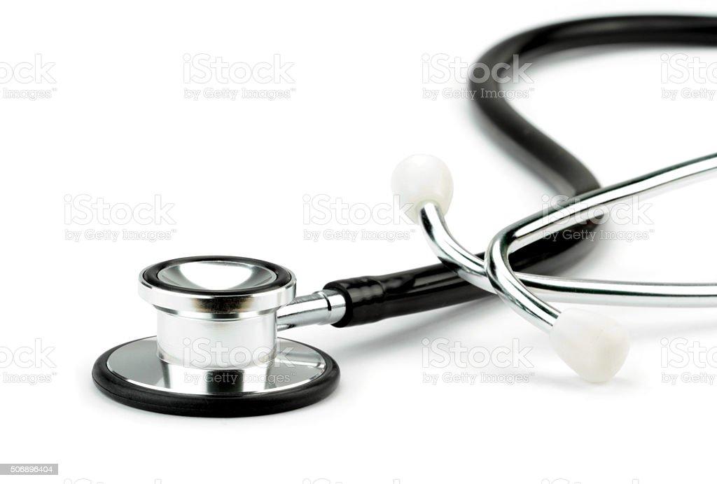 Stethoscope on white background Medical equipment.  Close-up  image. 2015 Stock Photo