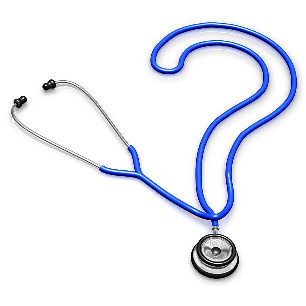 stethoskop fragezeichen - gesundheitsfragen stock-fotos und bilder