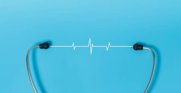 Stethoscope, White Heartbeat pulse on blue background. stock photo