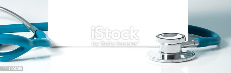 istock Stethoscope with a blank sign - medical concept 1141409289