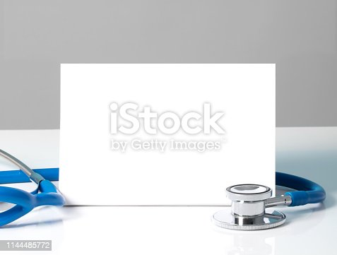 istock Stethoscope with a blank sign - medical concept 1144485772