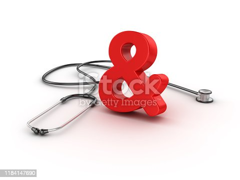 istock Stethoscope with AMPERSAND Symbol - 3D Rendering 1184147690