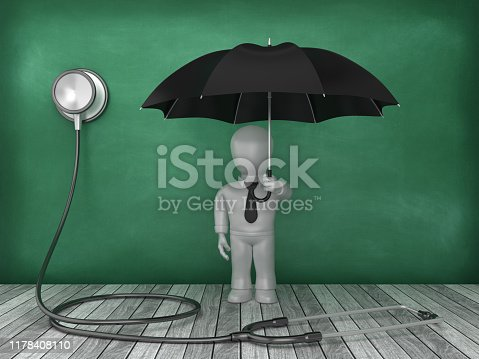 Stethoscope with Business Character with Umbrella on Chalkboard Background - 3D Rendering