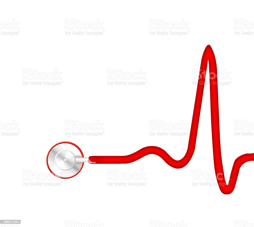 Stethoscope with ECG graph royalty-free stock photo