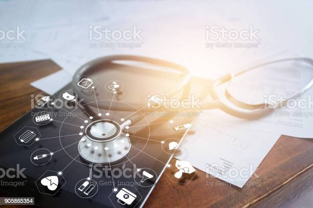 Stethoscope with icon medical on tablet and wooden table background picture id905865354?b=1&k=6&m=905865354&s=612x612&h= 4mdepnwuozuysaf0 lwljzr5 i0jtmfj9tzk6zem4g=