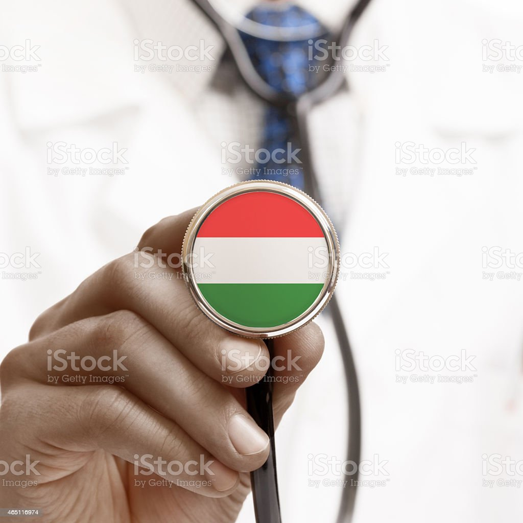 Stethoscope with national flag conceptual series - Hungary stock photo