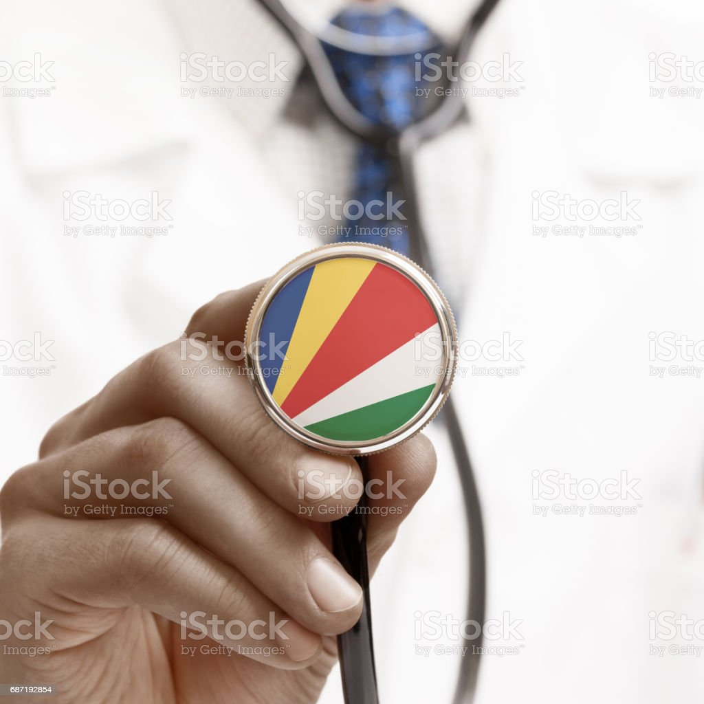 Stethoscope with national flag conceptual series - Seychelles stock photo