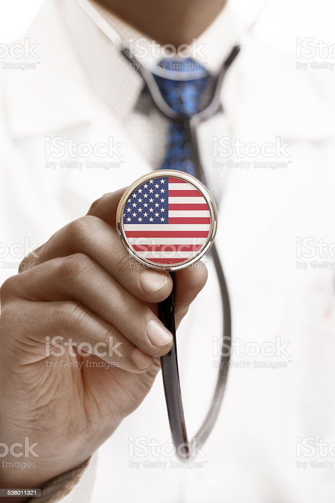 Stethoscope with national flag series - United States of America stock photo