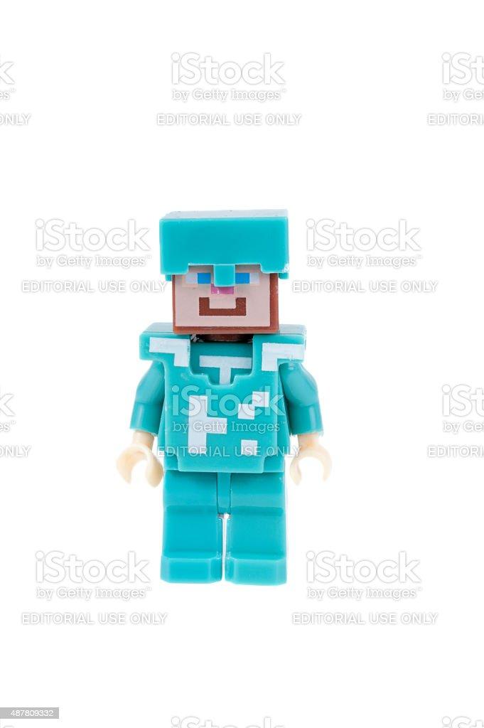 Steve Diamond Armour Minecraft Minifigure Stock Photo
