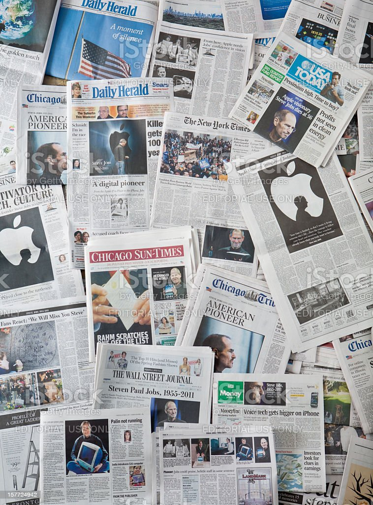 Steve Jobs Death newspaper collage vertical royalty-free stock photo