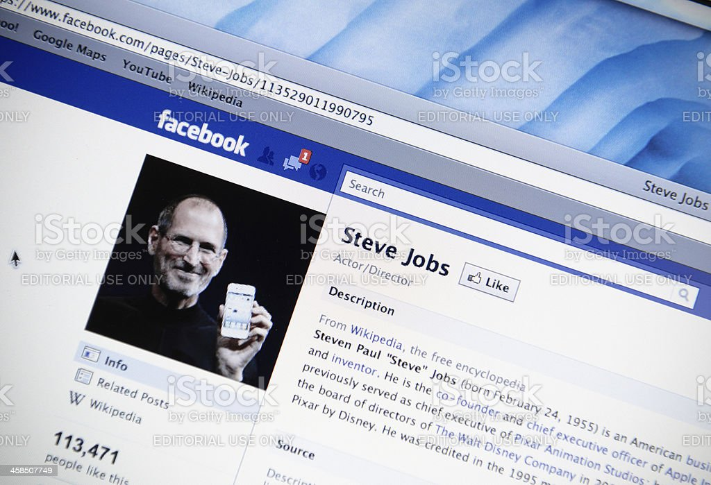 Steve Jobs facebook fan page royalty-free stock photo