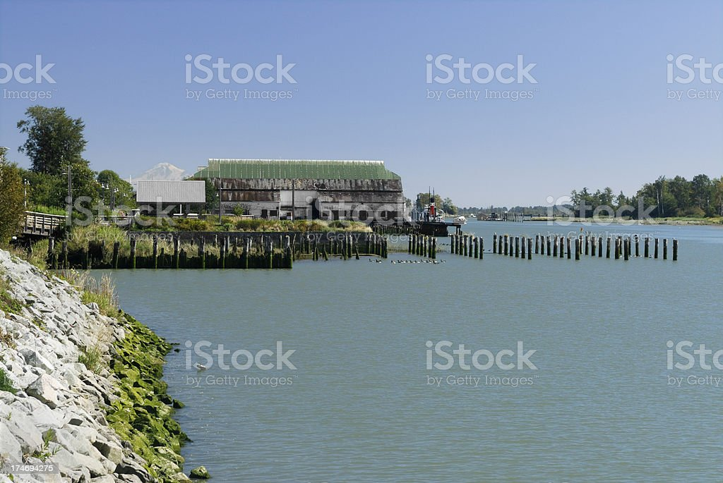 Steveston Village, British Columbia, Canada with Mount Baker in royalty-free stock photo