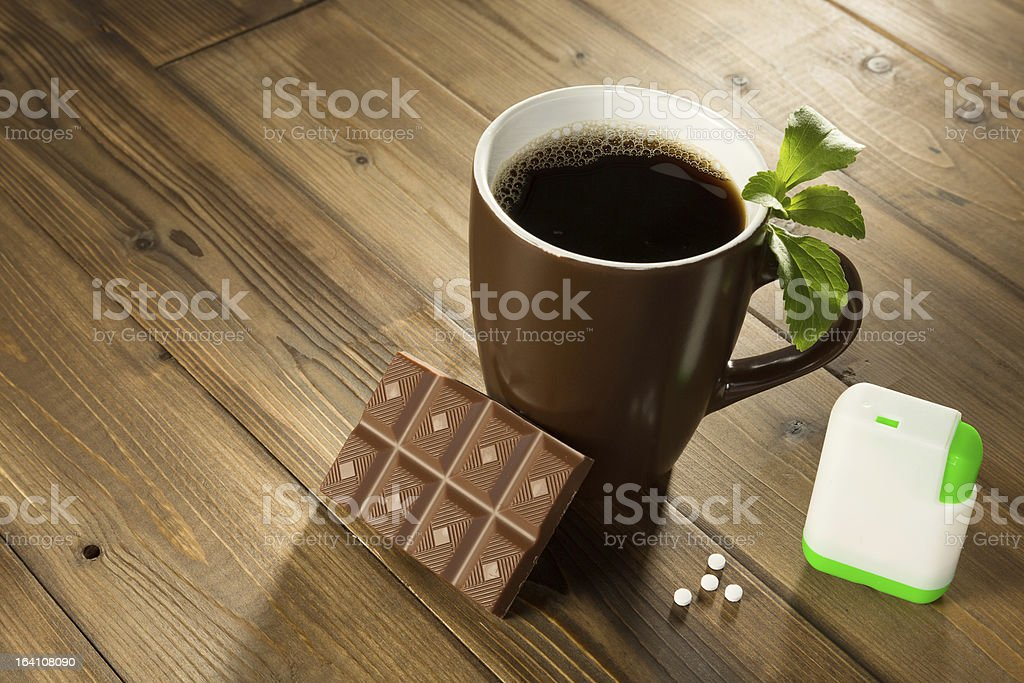 Stevia chocolate and coffee stock photo