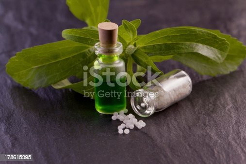 stevia rebaudiana herb essence and globule