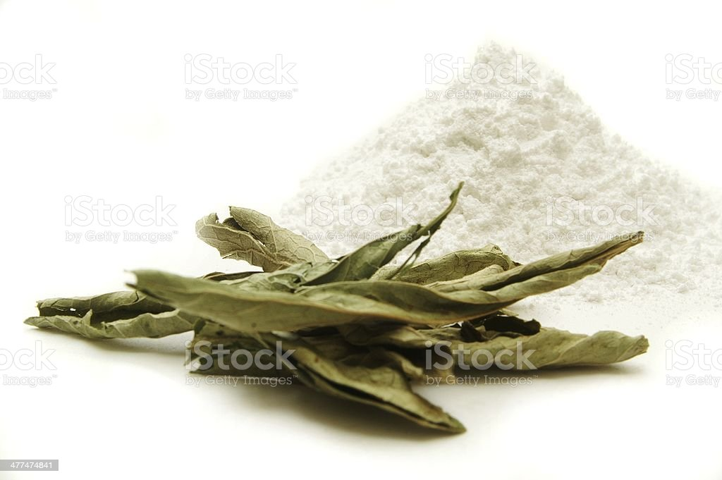 stevia leaf and refined sweetener royalty-free stock photo