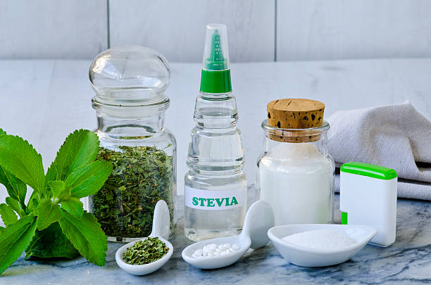 Stevia Products. Natural Sweetener. stock photo