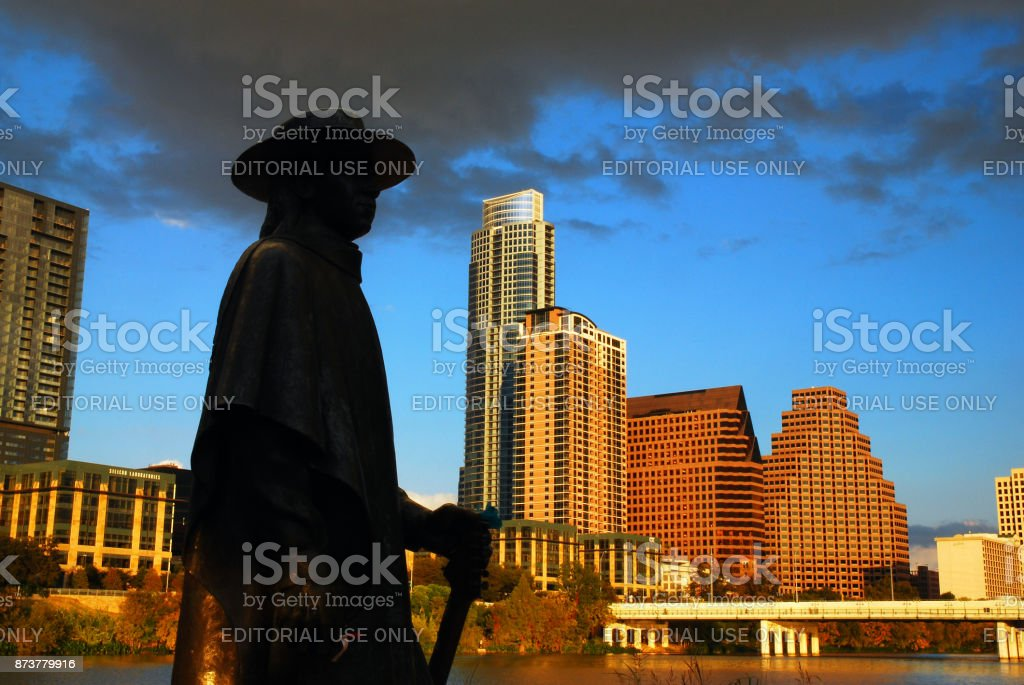 Stevie Ray Vaugn statue, Austin Texas stock photo