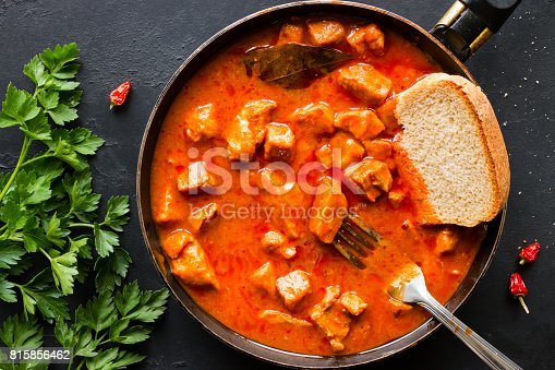 Stew and parsley closeup