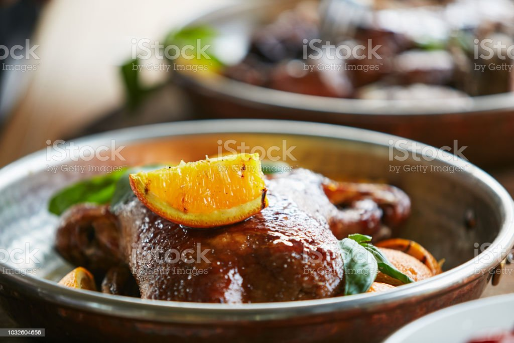 Stew duck in plate stock photo