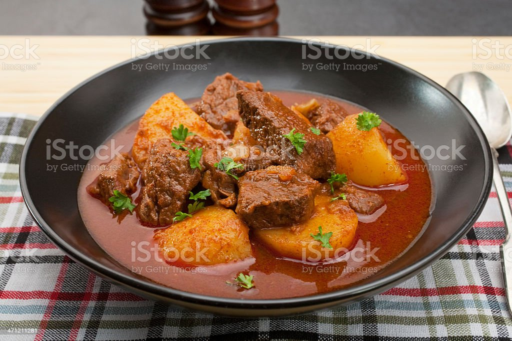 Stew Hungarian Beef Goulash Gulyas royalty-free stock photo