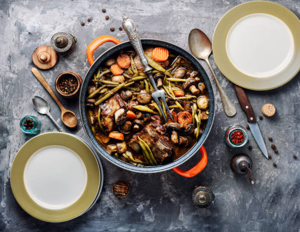 Stew meat-beef Bourguignon Cooking Stew meat in Burgundy or Beef Bourguignon.French cuisine beef bourguignon stock pictures, royalty-free photos & images