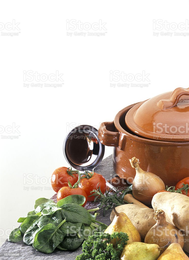 stew pot with fresh ingredients royalty-free stock photo