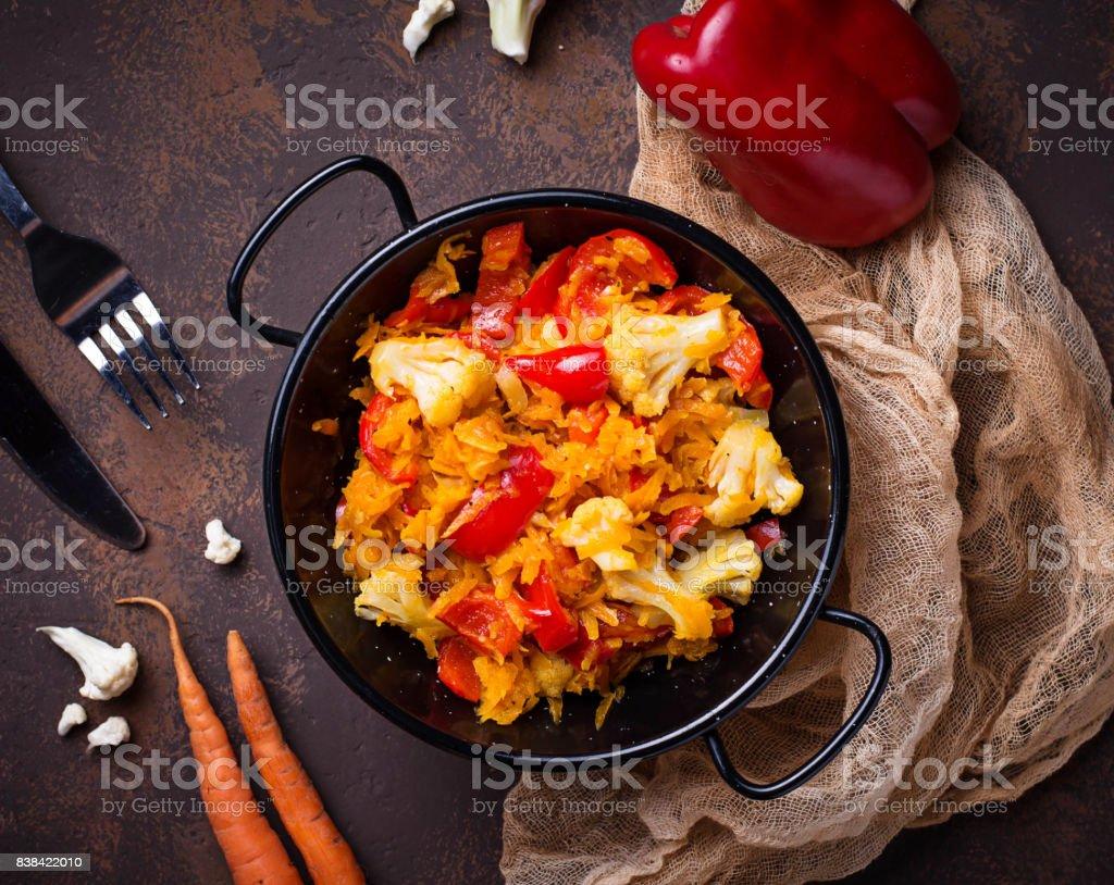 Stew vegetable in pan stock photo