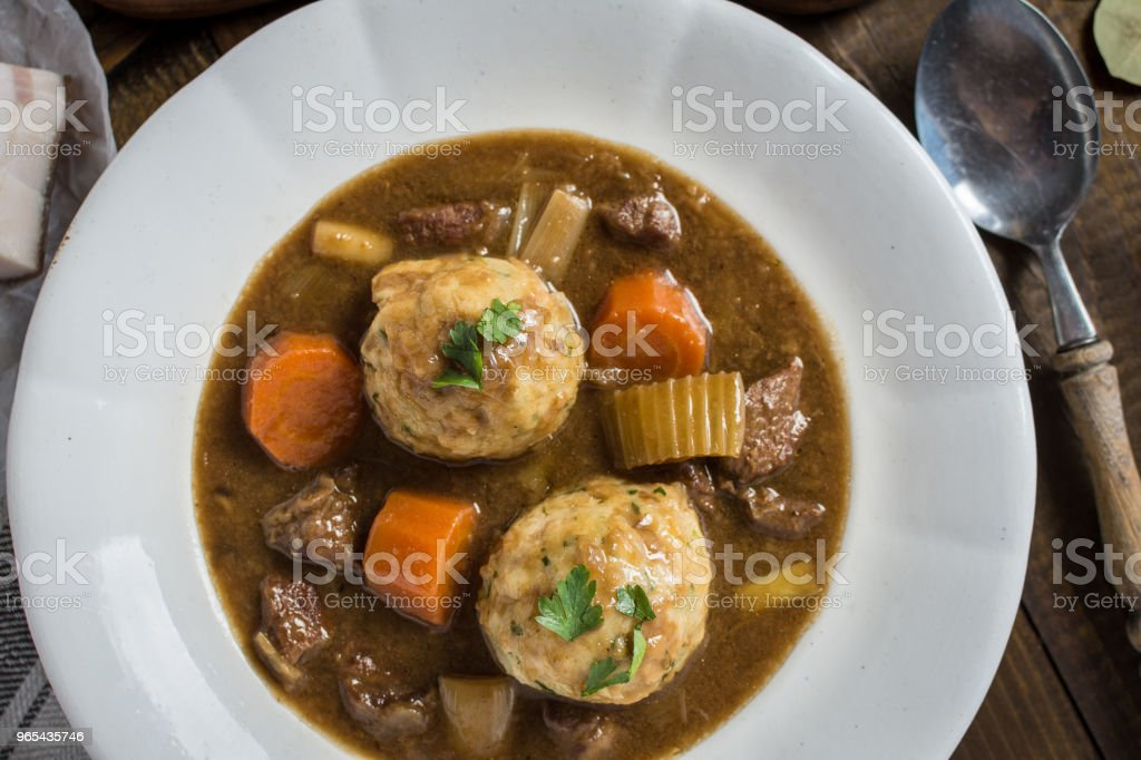 Stew with Venison and Bacon Onion Dumplings royalty-free stock photo