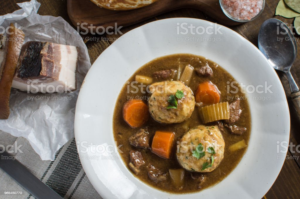 Stew with Venison and Bacon Onion Dumplings zbiór zdjęć royalty-free