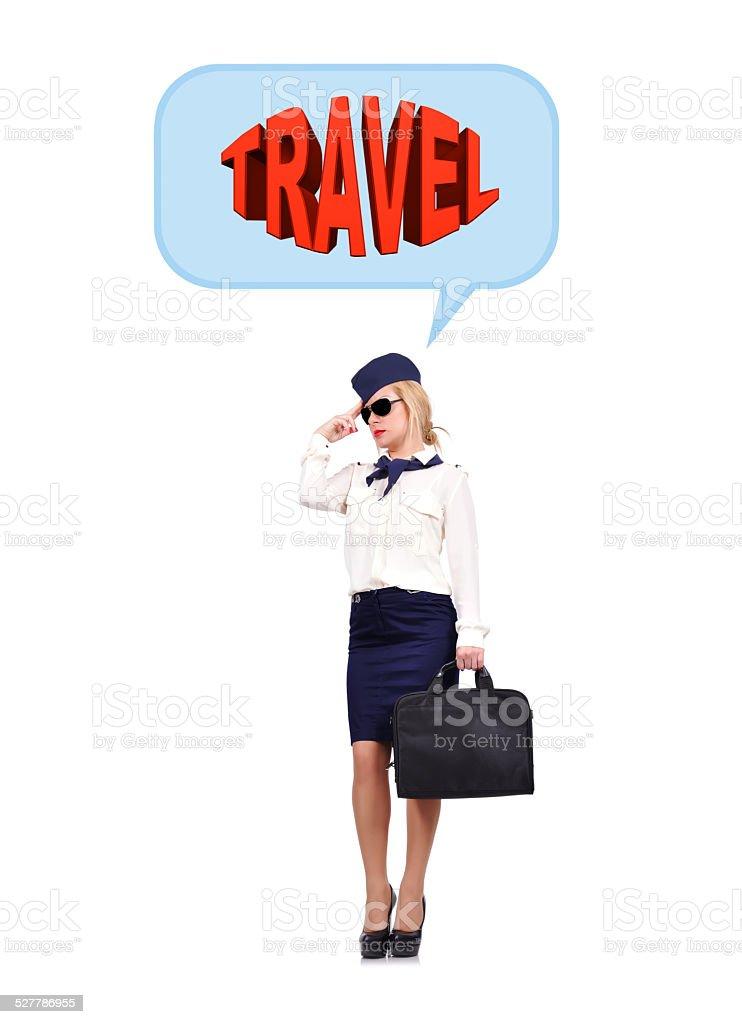 Stewardess dreaming stock photo