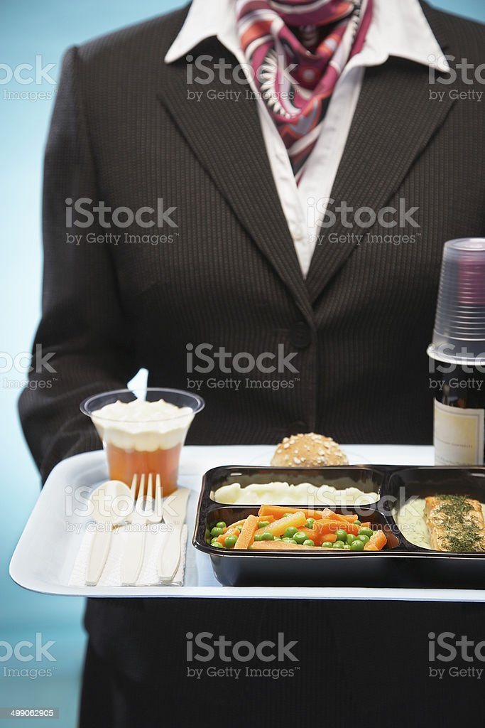 Stewardess Holding Tray With Airplane Food stock photo