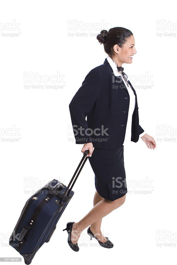 Stewardess on the go royalty-free stock photo