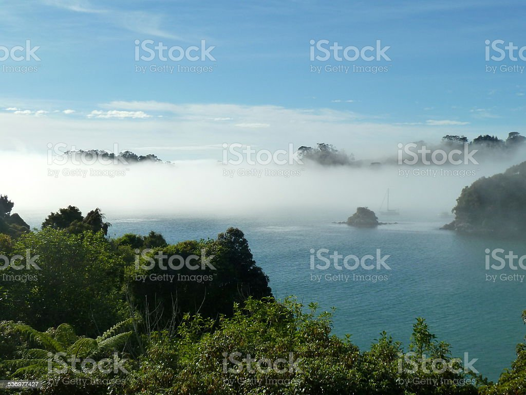 Stewart Island in Fog stock photo