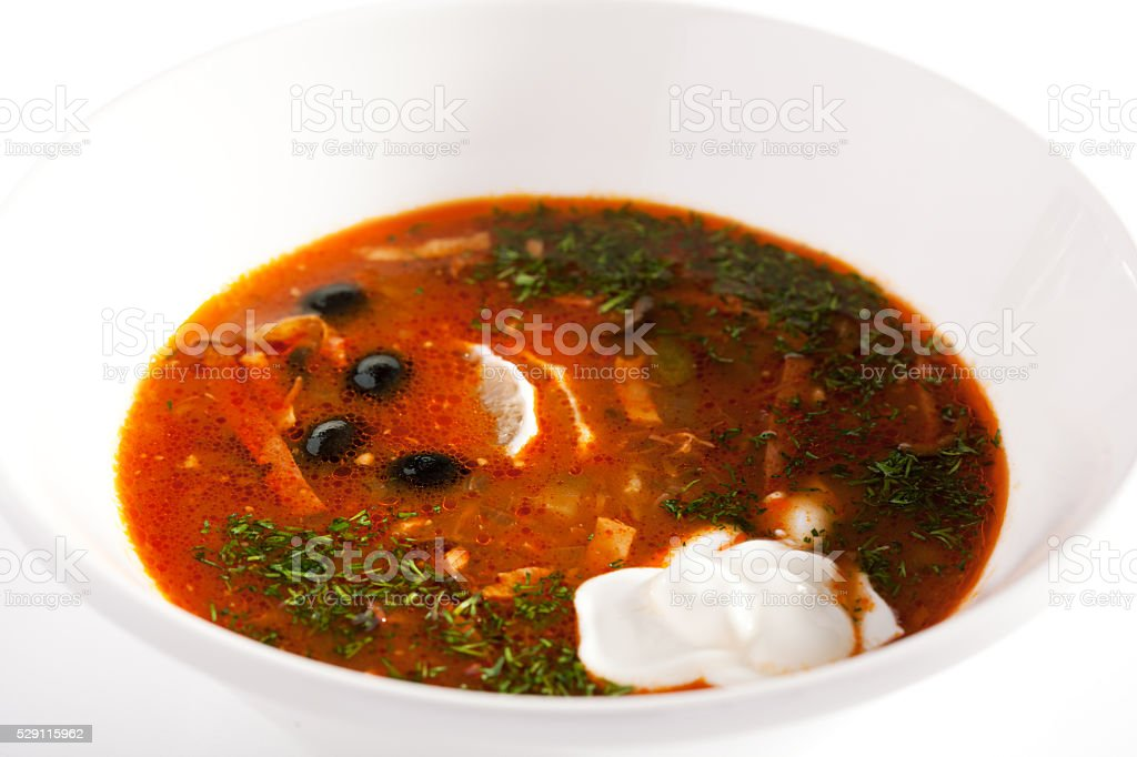 Stewed Meat Soup with Olives and Lemon stock photo